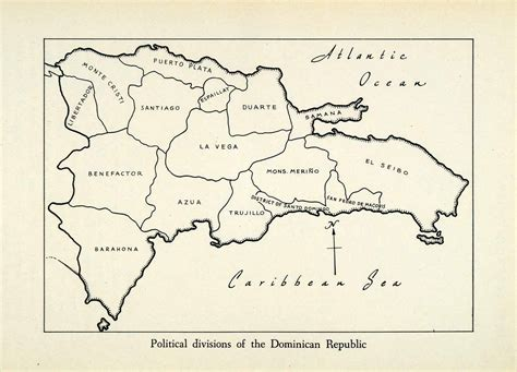 printable map dominican republic 1943 print dominican republic political divisions state