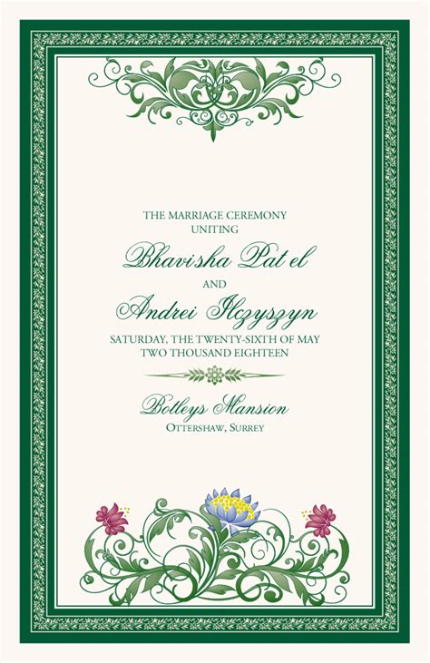 indian wedding program cards design template moon bloom monogram indian wedding programs hindu wedding