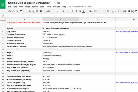 Search Spreadsheet by College Search Spreadsheet Template Collegexpress