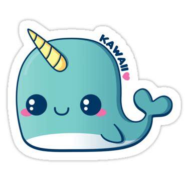 """""""kawaii blue narwhal"""" stickers by pai thagoras   redbubble"""