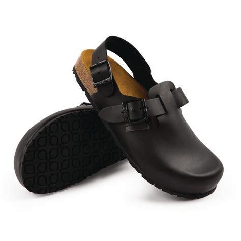 abeba black leather back slip on kitchen chef shoes