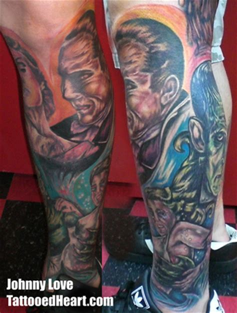 tattoo universal studios universal monsters leg sleeve in progress by john