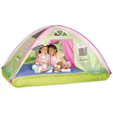 toddler bed with tent amazon com pacific play tents kids cottage bed tent playhouse twin size toys games
