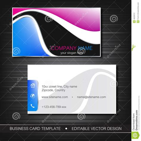 front and back business card template business card stock vector image 46228721