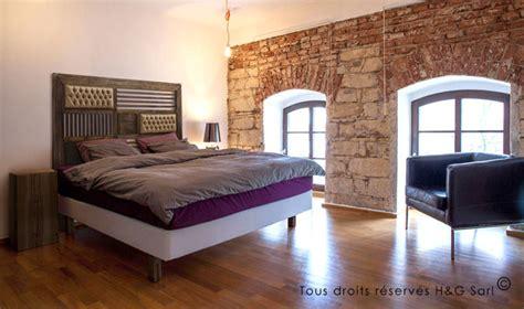 tete de lit bois massif 160 cm design industriel 2