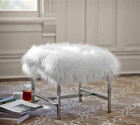 mongolian fur bar stool white faux flokati foot stool