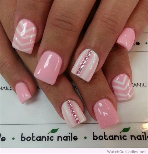 pink and white lights botanic nails light pink and white with diamonds