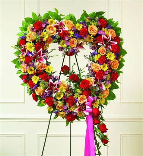 colorful sympathy heart wreath avas flowers