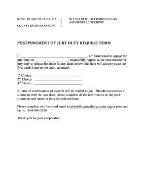 Postpone Report Duty Letter Fillable Postponement Of Jury Duty Request Form Spartanburg County Fax Email Print
