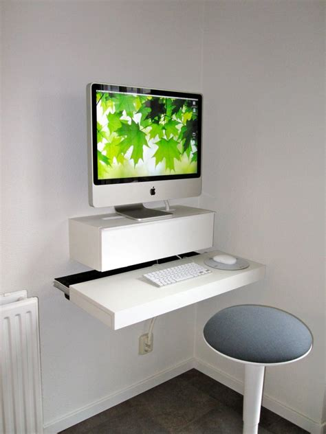 wall mounted floating desk ikea minimalist white imac floating desk wall mounted ikea