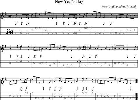 new year song midi folk and traditional sheet mandolin tab