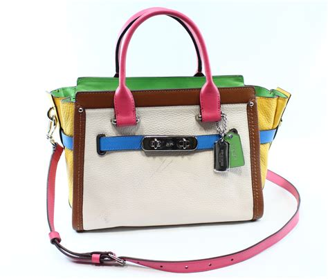 Coach Swagger Carryal Rainbow 23106 coach new chalk rainbow swagger 27 carryall satchel leather purse 495 075 ebay