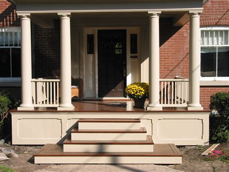 Wooden Front Stairs Design Ideas Non Lattice Underskirting Porch Ideas A Well Porch Columns And Wooden Front Doors
