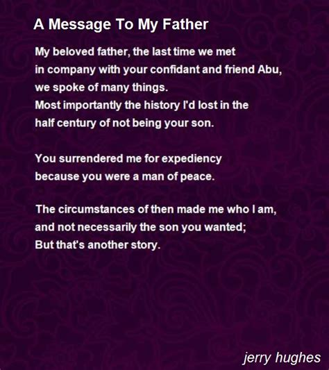 a message to my father poem by jerry hughes poem hunter