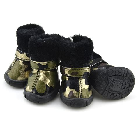 puppy booties camo pu leather shoes winter boots gold petsoo
