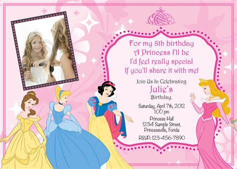 disney princess invitation templates free princess birthday invitations ideas