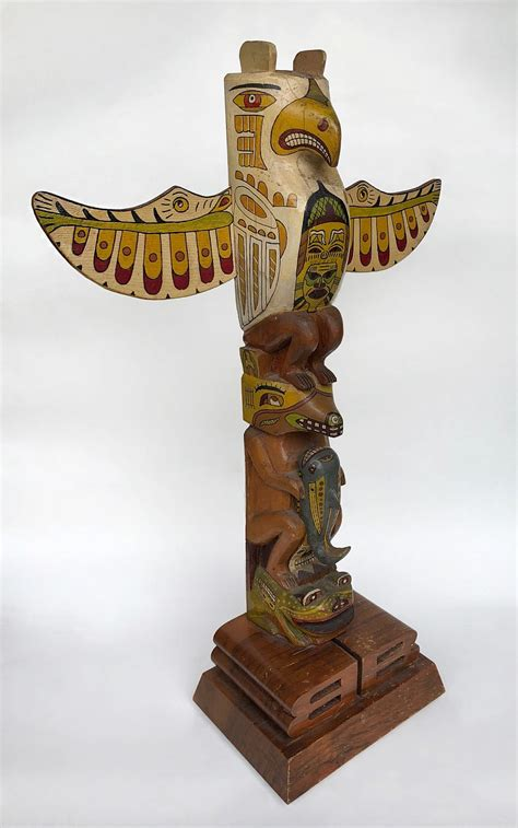 northwest coast totem pole figurative sculpture  ray