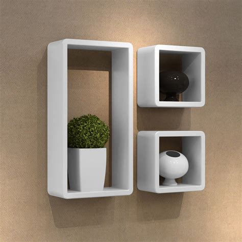 new wall mount cubby cube storage display shelf set of 3