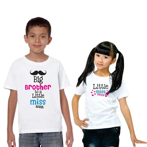 Desk Clock Gift Personalized Big Brother To Little Miss Sibling T Shirt Set