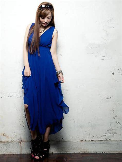 Maxi Moderen modern summer fashion v neck chiffon blue maxi dress