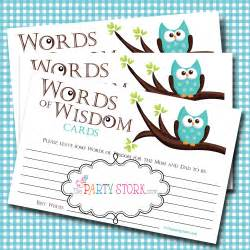 words of wisdom advice cards owl baby shower baby