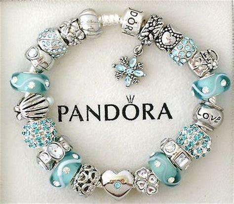 Pandora silver charm bracelet blue aquamarine heart love euro charms
