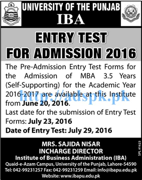 Entrance Test For Mba In Punjabi by New Iba Entry Test For Admissions 2016 Of