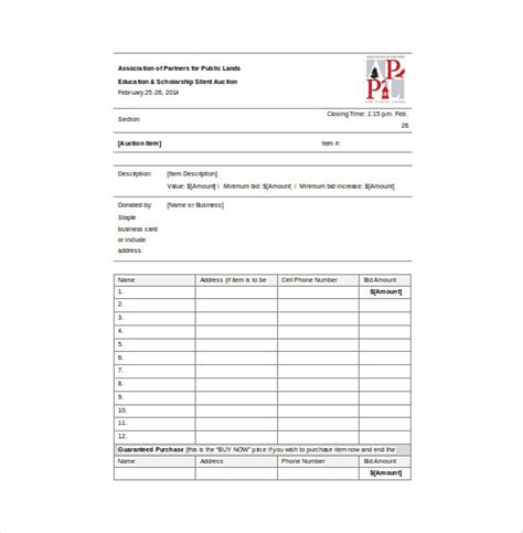 auction spreadsheet template bid sheet template 9 free word pdf documents