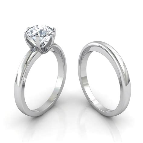 Wedding Rings Matching by Six Prong Solitaire Engagement Ring Matching