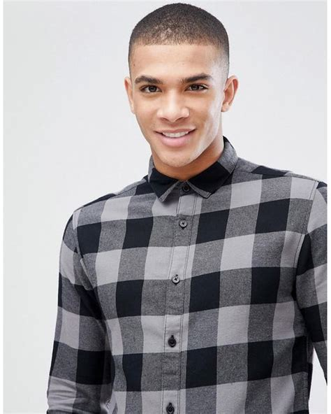 lyst only sons checked shirt in black for