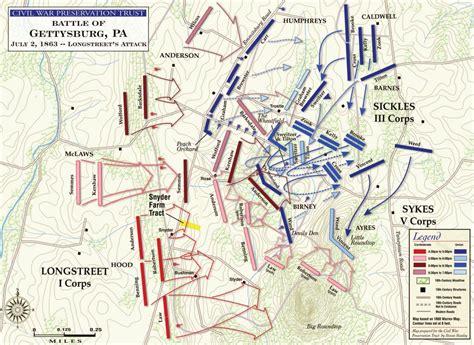 gettysburg map battle of gettysburg longstreet s attack civil war trust