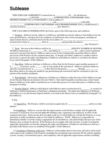 sublet agreement template sublease agreement template e commercewordpress