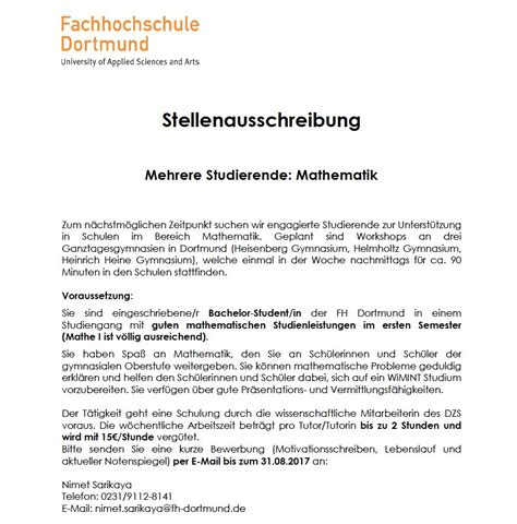 Bewerbung Als Tutor Motivationsschreiben Fh Dortmund On Quot Mathe Tutor Innen F 252 R Das Dzs Gesucht Um Sch 252 Ler Innen Auf Wimint