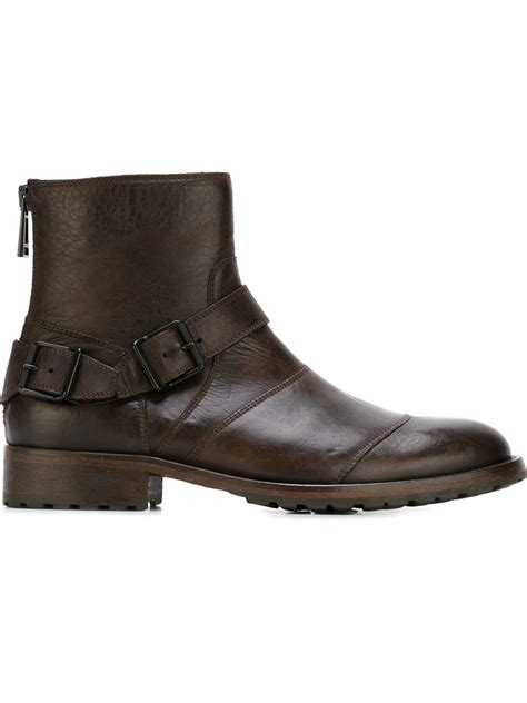 belstaff boots mens belstaff buckled ankle boots in brown for lyst