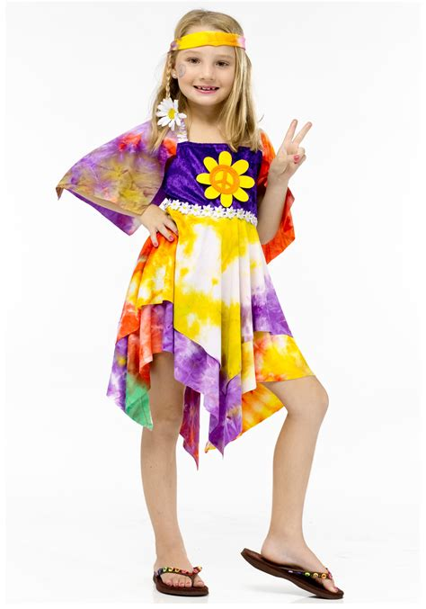 girls flower power hippie costume halloweencostumescom girls flower power hippie costume retro costume ideas