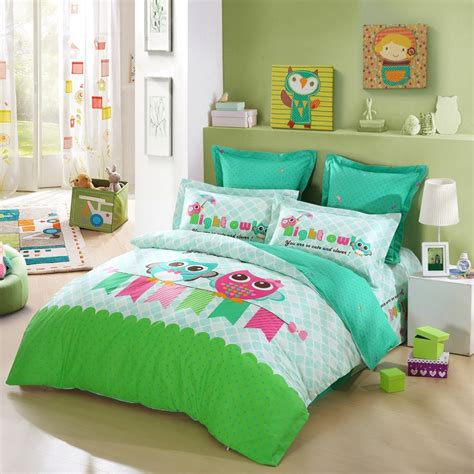 girls owl bedding lime green turquoise blue and pink cartoon night owl print