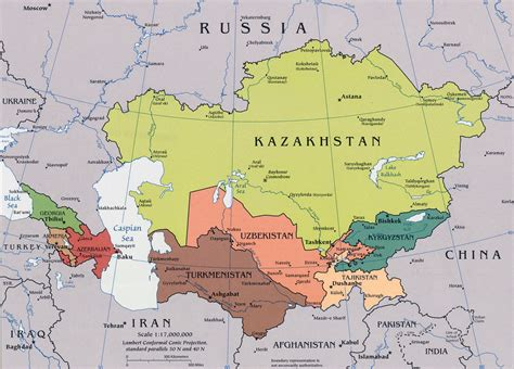 central asia map caucasus and central asia map