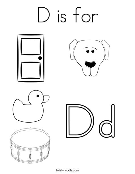 Free Coloring Pages Of Dog Letter D D Coloring Pages