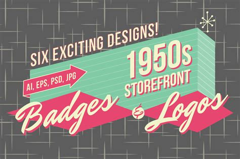 50s typography fonts 1950s retro logos and badges vinatge stlye creative tools