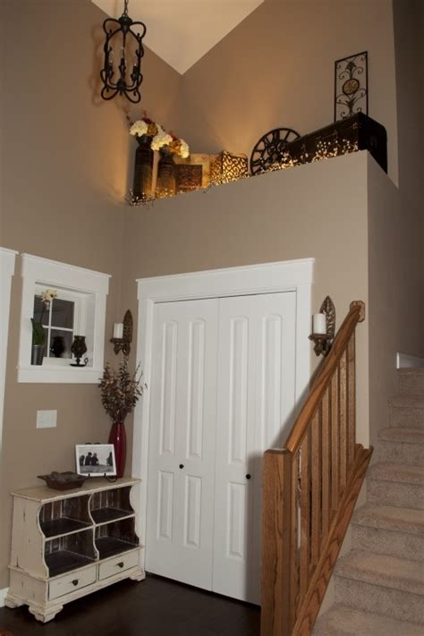 foyer ledge decorating ideas like the ledge up top of this split level house entry i