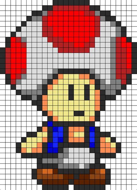 pixel art toad playing nintendo nes pixelated super toad perler bead pattern 26x36 perler hama square