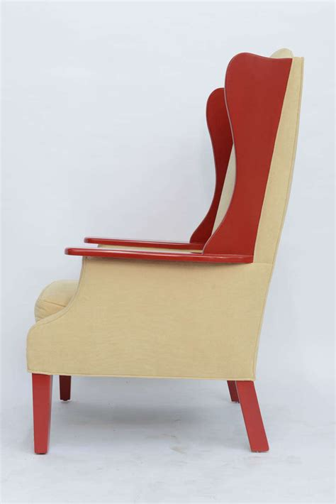 modern high back armchair 1950s modern high back lacquered wing back armchair at
