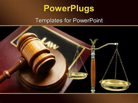 powerpoint template court gavel on top of a law book and