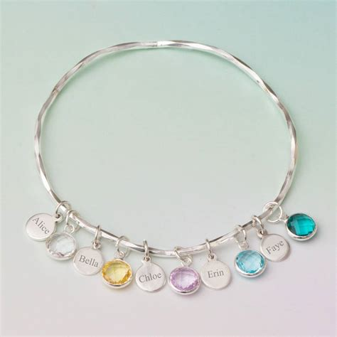 personalised family birthstone bracelet by bloom boutique