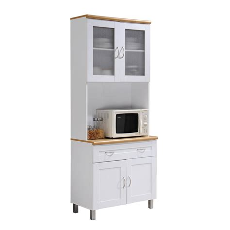 hodedah china cabinet white with microwave shelf hik92