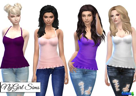 Ruffle 4 Top by Nygirl Sims 4 Ruffle Trimmed Tank Top