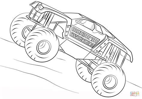 maximum destruction monster truck coloring page
