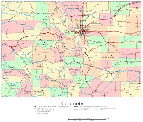 colorado state map with cities and counties map of colorado free large images