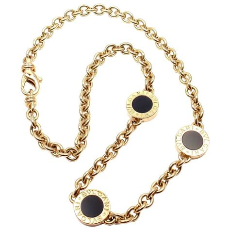 Onyx W Chain Link Necklace by Bulgari Black Onyx Link Yellow Gold Necklace At 1stdibs