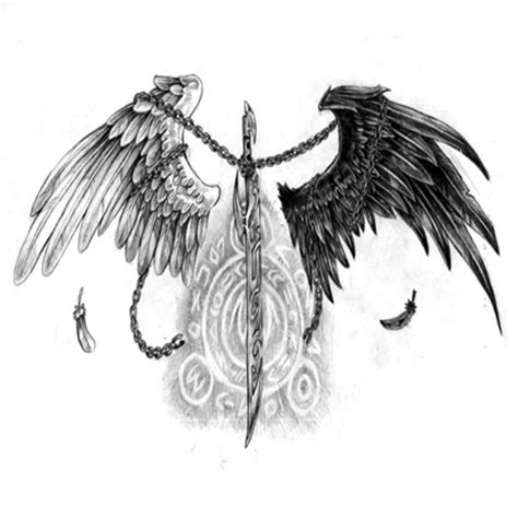 black and white angel wings tattoo designs images black white wings sword design roblox
